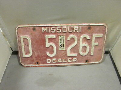 Vintage 1979 1981 Missouri Dealer License Plate Expired Over 3 Years # D 526F
