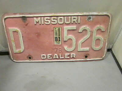 Vintage 1979 1981 Missouri Dealer License Plate Expired Over 3 Years # D 526