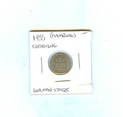 1855 Germany Sechsling German States Hamburg Coin