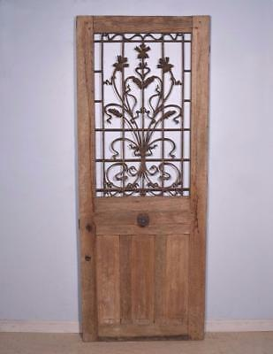 "*Antique French 80"" Solid Oak Door with Iron Grille Rustic Finish Salvage"