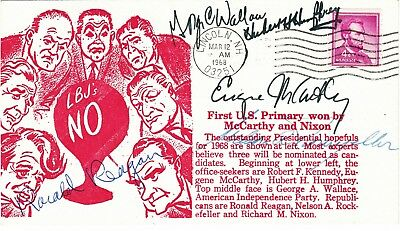 1968 NH PRIMARY COVER signed HUBERT H HUMPHREY,GEORGE C WALLACE,EUGENE McCARTHY