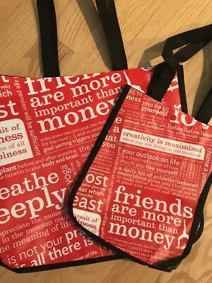 Lululemon Reusable Bag Large Tote And Small Tote 2 Bags Red And White