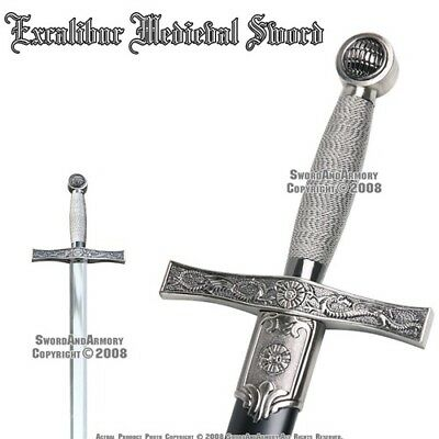 "35"" Excalibur Medieval Style Crusader Arming Sword With Sheath"
