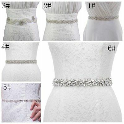 Rhinestone Crystal Bridal Dress Sash Belt Wedding Party Prom Sash with Ribbon
