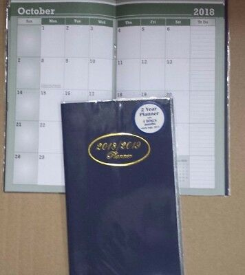 "2018 ~ 2019 Monthly Pocket Planner Navy Blue Cover  3 3/4"" x 6 3/4"""