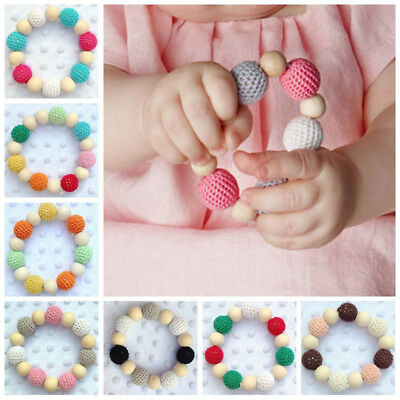 Baby Hand Made Wooden Crochet Nursing Toy Teething Bead Colorful Bracelet Hot