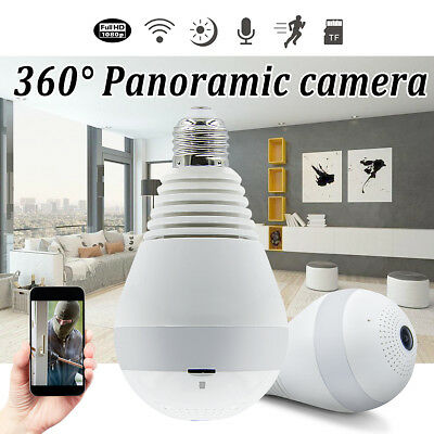 360° Panoramic Hidden Fish Eye Camera LED Light Bulb 1080P HD Wifi CCTV Cam NEW