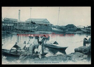 MALAYA Singapore MALAY SAMPAN AND BOYS Japanese Publisher POSTCARD E20C - S108