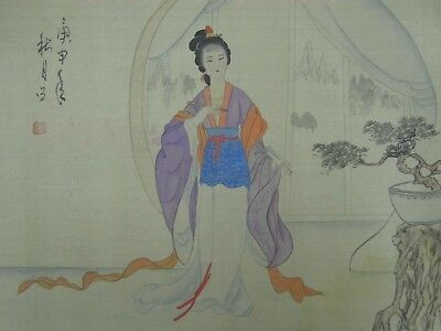 Fine Antique Japanese Scroll Painting Geisha Girl Silk Damask Seal & Signature