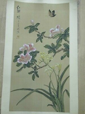 Antique Japanese Scroll Painting Butterfly Cherry Silk Damask Seal & Signature
