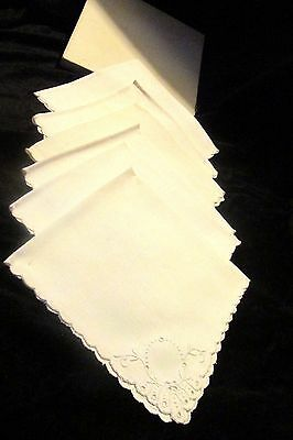1929 Antique Embroidered Napkins Antique White Lot of 6