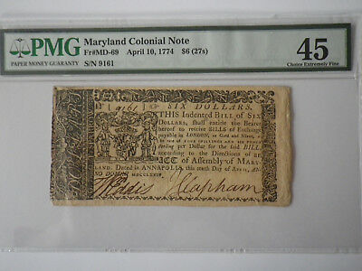 Maryland Colonial Note Annapolis 6 dollars april 10, 1774 PMG45 FR MD69