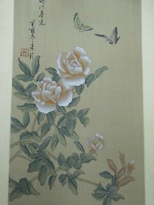 Antique Japanese Scroll Painting Butterflys Cherry Silk Damask Seal & Signature