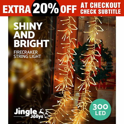 300 LED Christmas String Lights Fairy Party Wedding Outdoor Garden Warm White