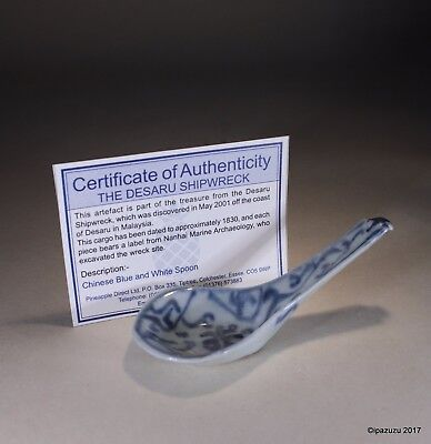 Antique Chinese Porcelain Blue & White Spoon Desaru Shipwreck Plus Certificate