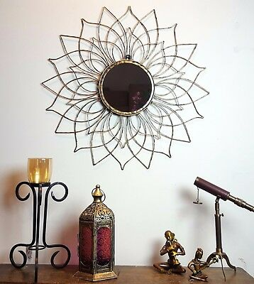 Large METAL Round Flower Wall Feature Mirror Antiqued Gold, Sun, Wire Petal 64cm