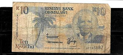 MALAWI #25b 1992 VG CIRC 10 KWACHA OLD BANKNOTE PAPER MONEY CURRENCY BILL NOTE