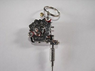 CUSTOM MINI TATTOO MACHINE KEYRING 2 INCH IN SIZE WITH REAL COILS VERY NICE no 1