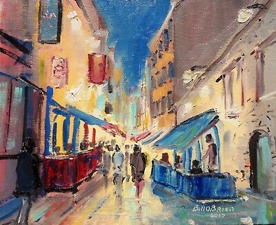 Original Oil Painting, By The Quays Galway. Irish Art