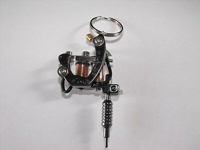 CUSTOM MINI TATTOO MACHINE KEYRING 2 INCH IN SIZE WITH REAL COILS VERY NICE no 5