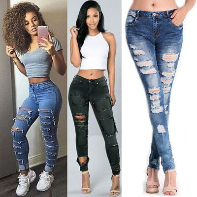 Women Denim Slim Ripped Pants High Waist Stretchy Jeans Leggings Pencil Trousers