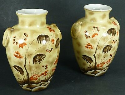 Pair Of Antique Victorian Japanese Style Vases Hand Painted