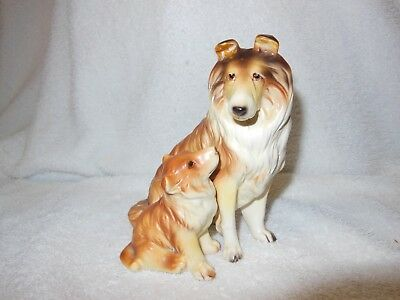 Vintage Hand Painted Collie & Puppy Dog Figurine.  Made in Japan.