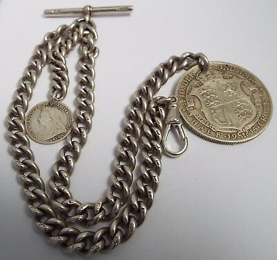 Fine Heavy English Antique 1904 Solid Sterling Silver Double Albert Watch Chain