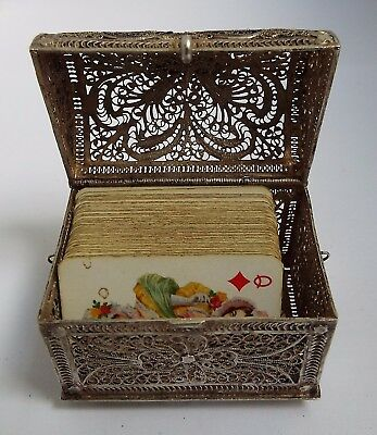 SUPERB DECORATIVE ANTIQUE c1895 SOLID SILVER FILIGREE PLAYING CARD CASKET BOX