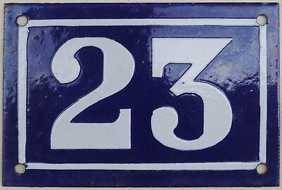 Old blue French house number 23 door gate plate plaque enamel steel sign c1950
