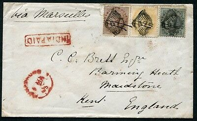 India 1865 EI 1a, 2a & 4a used from '57' (Ahmednagar) to England + 'INDIA PAID'