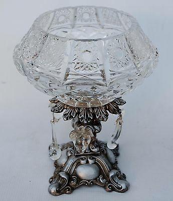 Vintage Cut Crystal Fruit Prisms Compote Bowl On Silver Metal Base Italy