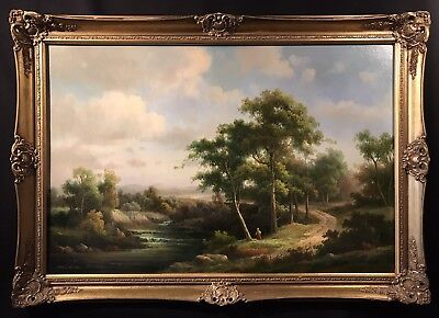 Very Large English Rural River Landscape Signed Oil Painting - Swept Gilt Frame