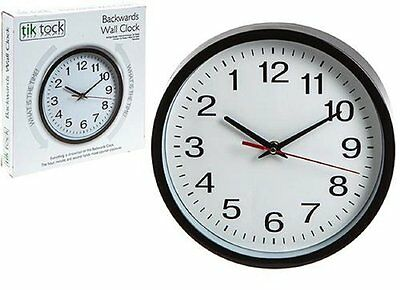 NEW Backwards Wall Clock, novelty reverse time gift, joke humour gift 792024
