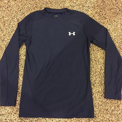 UNDER ARMOUR Long Sleeve Compression Shirt Navy Blue Youth Kids Size Large