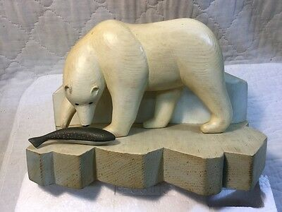 Best Vintage Magnificent Hand Carved Painted Wood Polar Bear & Fish JAGAL Inuit