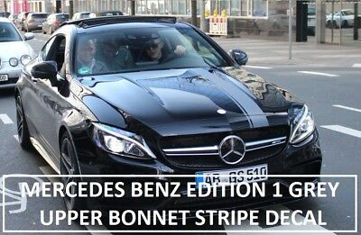 Amg Edition 1 C63 Stripe Grey Decal Sticker Upper Bumper Bonnet Roof & Tailgate