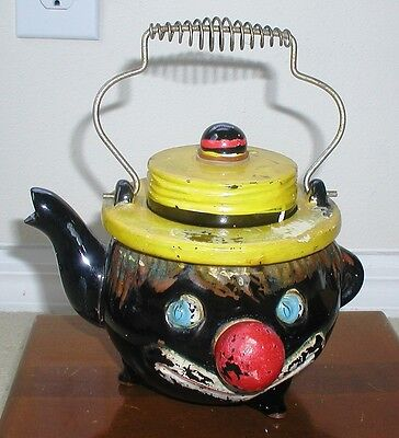Black Americana vintage Thames Redware Clown Tea Pot - 1940's