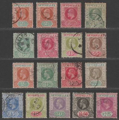 Seychelles 1903-16 KEVII-KGV Selection to R1.50, R2.25 Used with some faults