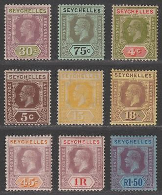 Seychelles 1918-32 King George V Selection to 1r.50 Mint