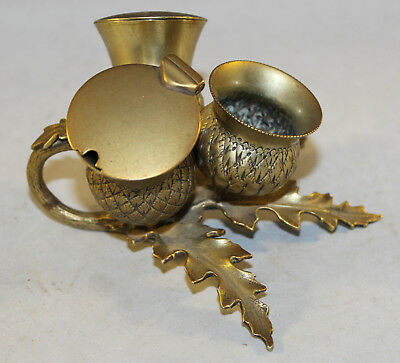 Antique Brass Condiment Thistle Design Table Set With Liners