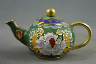 Collection Handmade Decorative Cloisonne Carve Beauty Flower Auspicious Tea Pot