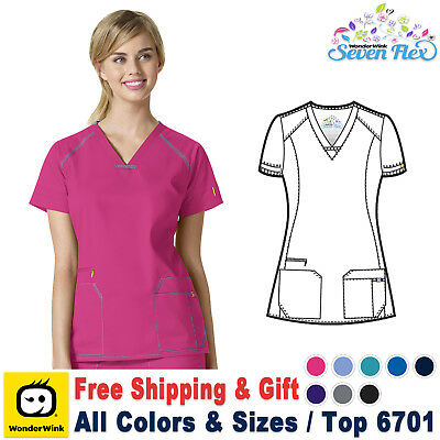 WonderWink Seven Flex Women's V-Neck Top Medical Nursing Work Scrubs Uniforms