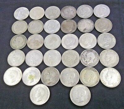 Dealer Lot Of (32) Great Britain Silver Florin (2 Shillings) 1908-1945 G-A (4121