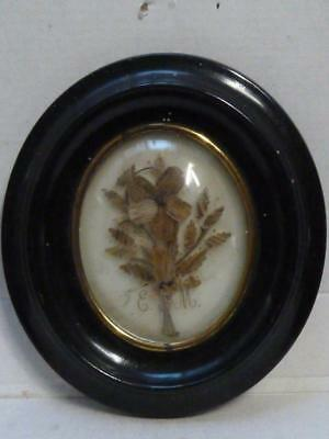 Mourning Jewelry Hair Wreath Victorian Frame Domed Glass Hairpiece Souvenir