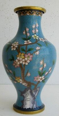 Fine Old Chinese Cloisonne Flowering Tree Decorated Scholar's Vase  2 of2