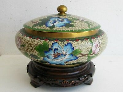 Fine Old Chinese Cloisonne Peonies Flowers Decorated Lidded Vase Pot w/ Stand