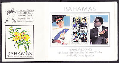 Bahamas 1981 Royal Wedding - Charles & Diana Wedding -   MS First Day Cover