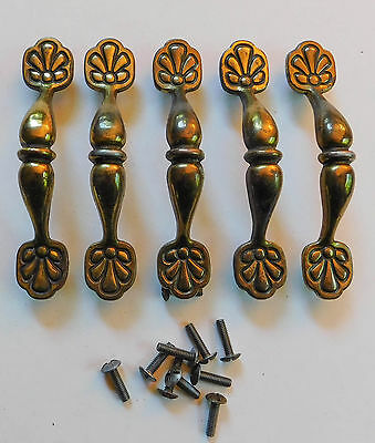 "5 Vintage Brass Cabinet Drawer Door Pulls Handles Flower KBC 4 1/2"" Lot"