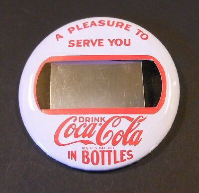 """Vintage Coca Cola 1950's-60's """"Name Tag"""" Pin Back Button"""